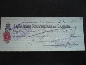 Canada - Revenue - KGVI War Issue Stamp on cheque dated 1943