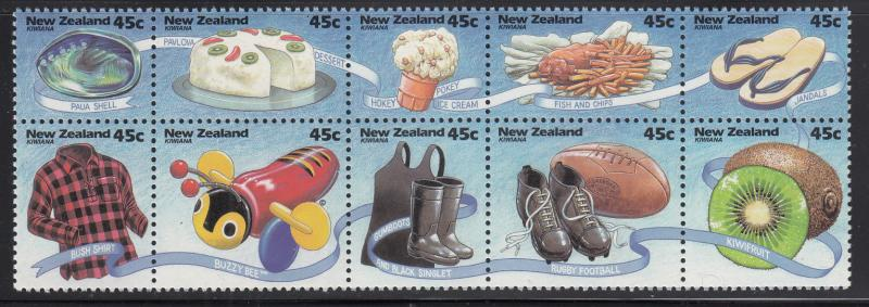 New Zealand 1994 MNH #1218a Pane of 10 45c Kiwi culture