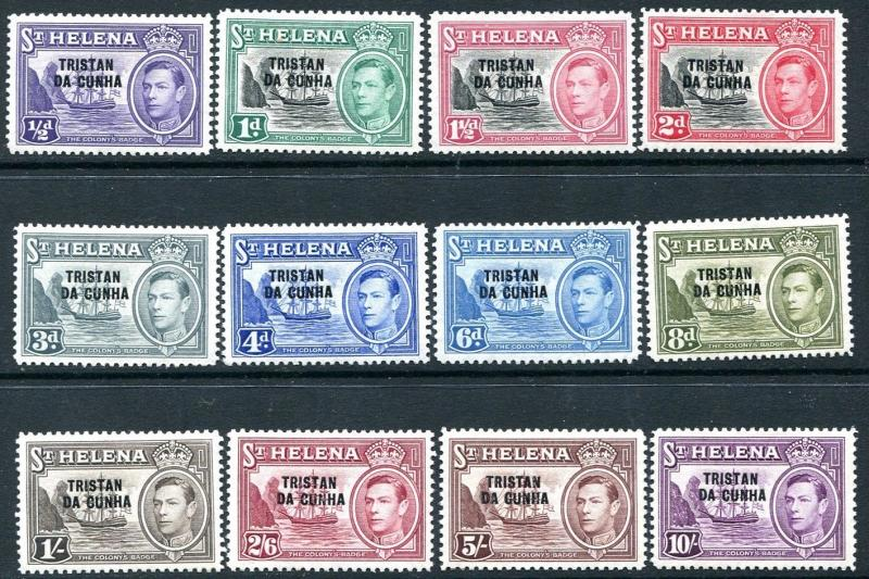 TRISTAN DA CUNHA-1952 Ovpt Set of 12 Values Sg 1-12 MOUNTED MINT V24483