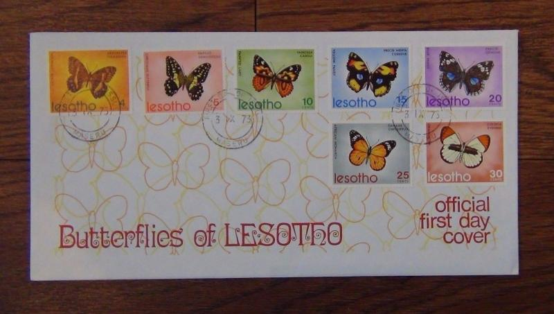 Lesotho 1973 Butterflies set on First Day Cover