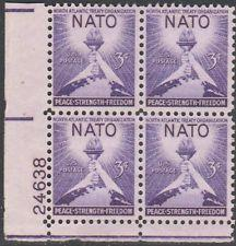 SCOTT # 1008 NATO MINT GEM NEVER HINGED PLATE BLOCK !!