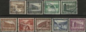 Stamp Germany Mi 634-42 Sc B93-101 1936 Fascism Modern Buildings Used