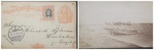 O) 1907 COSTA RICA, WIESBADEN 1 b CANCELLATION, POSTAL STATIONERY 2c - STAT