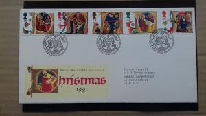 Great Britain 1991 Christmas Stamps  FDC