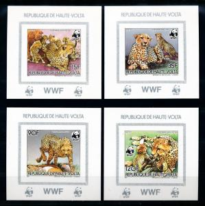 [75674] Upper Volta 1984 Wild Life Cheetah WWF Set 4 Deluxe Imperf. Sheets MNH