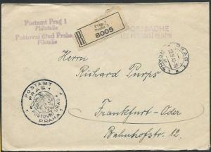 CZECHOSLOVAKIA 1941 Registered cover Prague to Germany.....................61350