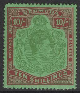 BERMUDA SG119ce 1943 10/= BROKEN LOWER RIGHT SCROLL MTD MINT BLUNT CORNER