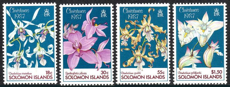 Solomon Islands 598-601, MNH. Orchids, 1987