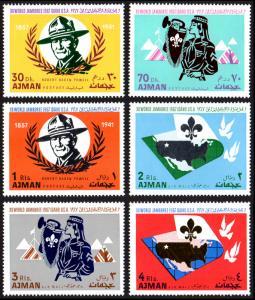Ajman Mi #182-187 set/6 mnh - 1967 World Scout Jamboree Idaho - Baden-Powell