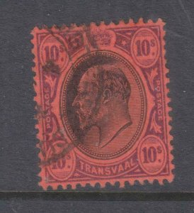 TRANSVAAL, 1907 KEVII, Mult. CA 10s. Black & Purple on Red, used.