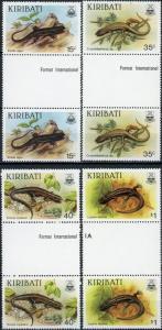 Kiribati #491-494 Lizards MNH Gutter Pairs