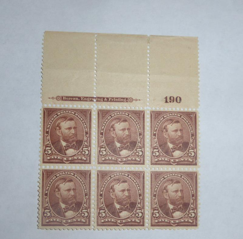 #270 5 cent Grant plate block