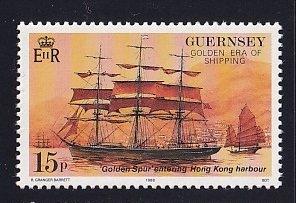 Guernsey  #368  MNH  1988  voyage golden spur ship  15p
