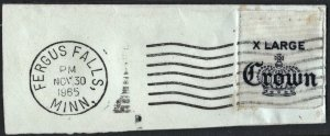 Fergus Falls Post Office Circular Date Stamp on Crown Fabric Tag (1965)