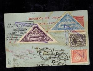 1932 Paraguay LZ 127 Graf Zeppelin Postcard Cover to Hamburg Germany