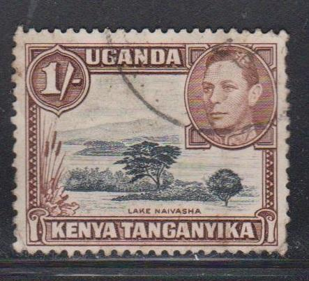 KENYA UGANDA & TANGANYIKA Scott # 80 Used - KGVI & Lake Naivasha