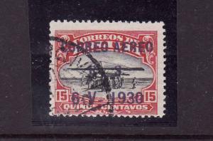 Bolivia-Scott #C14-used-1930 airmail-15c car & blk-planes-