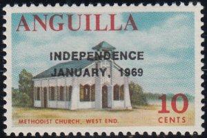 Anguilla 1969 MNH Sc #59 Overprint on 10c Methodist Church Variety