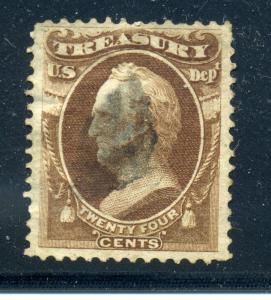 Scott #O80 Variety Treasury Official Stamp Short Transfer @ Top (Stock #O80-2)