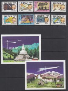Bhutan Sc 564-573 MNH. 1986 Halley's Comet, cplt set, stamps & souv sheets, VF