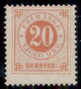 SWEDEN #46 (46) 20ore vermillion, og, VLH, fresh and F/VF, Scott $125.00