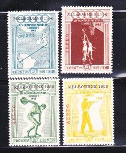 Peru C78-C81 Melbourne Overprints Set MH Olympics (A)