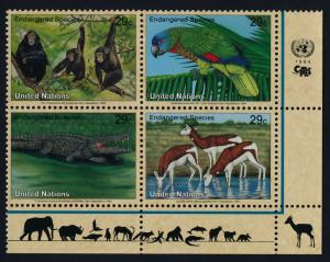 United Nations - New York 642a BR Block MNH Chimpanzee, Parrot, Crocodile