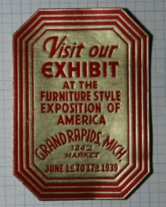 Furniture Style Expo of America Grand Rapids MI 1939 Exposition Poster Stamps Ad