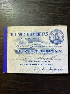 The North American Stamp Booklet Good for one Advertisement 1905 Complimentary F