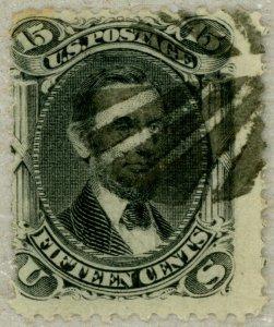 US Scott#91 1867 15c Lincoln clear E grill, leaf cancel, fresh, no faults
