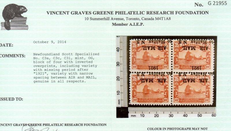 Newfoundland #C3a #C3c #C3i Mint Inverted Overprint Block