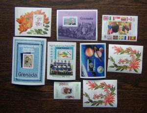 Grenada 9 x M/S 1979 1985 Flowers Football UPU Queen Mother Youth R Hill etc MNH