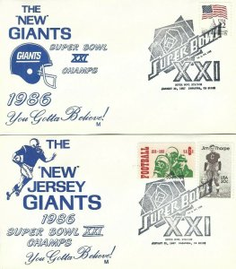 NY - NJ GIANTS WIN 1986 SUPER BOWL 1986 - Set of 2