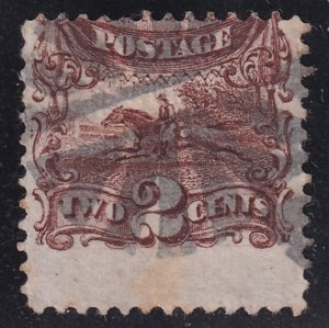 US STAMP #113 1869 2¢ Pony Express Rider Pictorial MISPERF ERROR