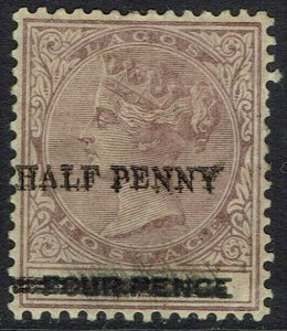 LAGOS 1893 QV HALF PENNY ON 4D ERROR OVERPRINT DOUBLE