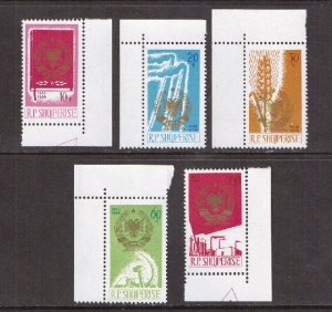Albania    #897-901   MNH   1966  Arms of Republic sickle  factories