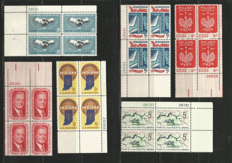 USA Stamps #1266,1269,1308,1312,1313,1318 Plate Blocks of 4