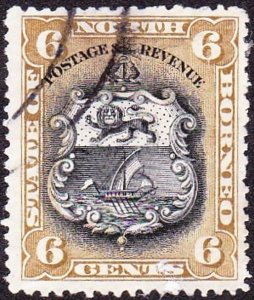 NORTH BORNEO 1894 6c Black & Bristre-Brown SGF73a FU