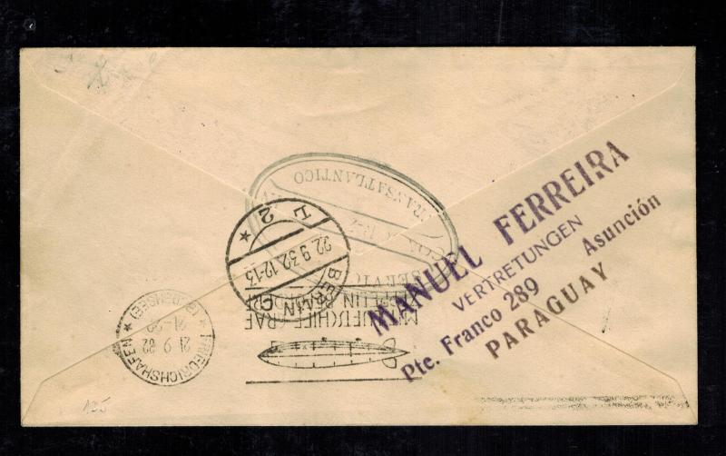 1932 Paraguay Graf Zeppelin Cover to Berlin Germany LZ 127 Star of David