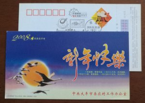 Swan birds,China 2008 Dafeng Rural Work Office new year greeting advertising PSC