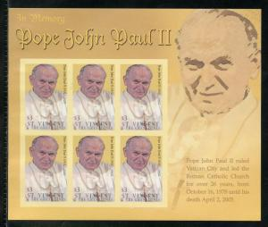 ST.VINCENT GRENADINES  IN MEMORIAM  POPE JOHN PAUL II IMPERFORATE SHEET MINT NH
