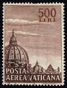 ITALY VATICAN CITY STAMP 1953 Airmail 500 L USED $12