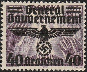 Stamp Germany Poland General Gov't Mi 031 Sc N49 1940 WWII War Era Eagle MNG