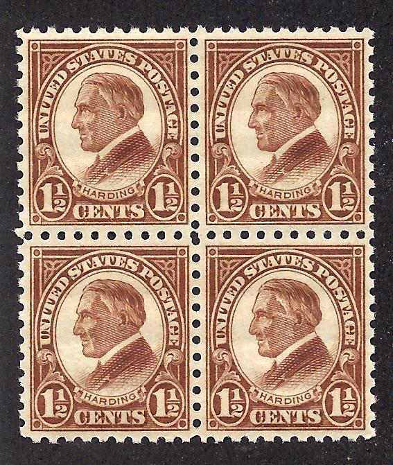 582 Mint,OG,NH... Block of 4... SCV $54.00... Well Centered