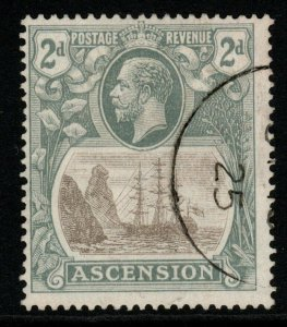 ASCENSION SG13c 1924 2d GREY-BLACK & GREY WITH CLEFT ROCK FINE USED