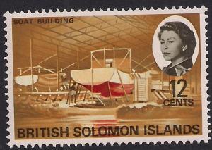 British Solomon Islands 1968 QE2 12ct Boat Building Umm SG 172 ( L1468 )