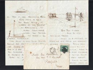 MASSACHUSETTS: Boston 1877 ILLUSTRATED Letter Dateline BIG FIVE ISLAND
