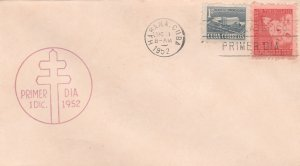 1952 Cuba Stamps Fighting Tuberculosis Child,Cross and Light Red FDC