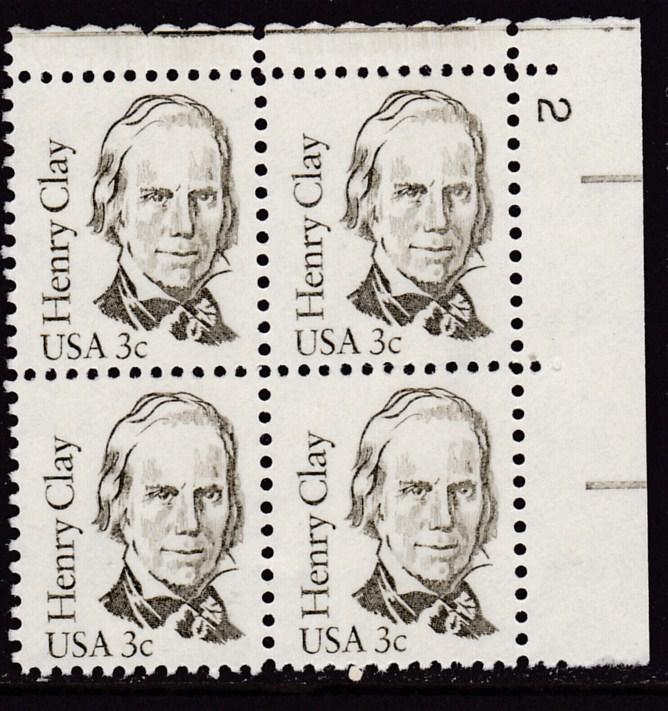 U.S. 1980 Great Americans 3cent Henry Clay Plate Number Block VF/NH