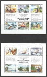 Pitcairn Islands Sc# 320-321 MNH Souvenir Sheet 1989 Bicentennial